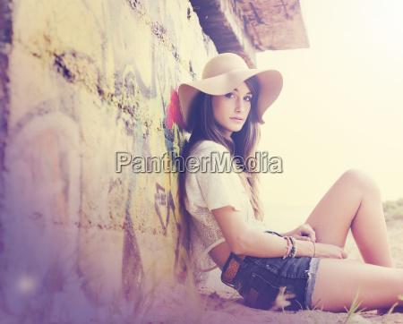 fashion lifestyle beautiful girl at the