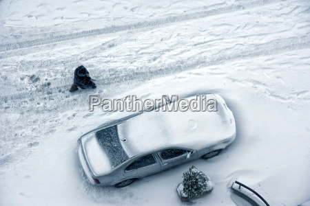 parked car covered with snow