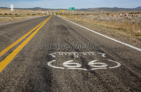 route 66 logo painted on the
