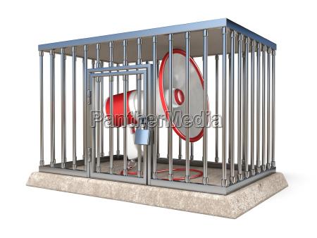 megaphone inside metal cage 3d render