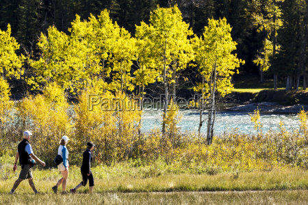 three walkers along a trail with