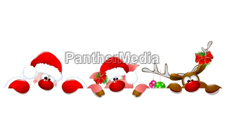 santa, claus, , deer, and, piglet - 25567423