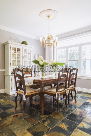 wooden dining table with high back
