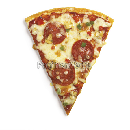 a slice of deluxe pizza on