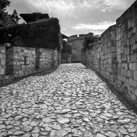 cobblestone walkway at the belgrade fortress