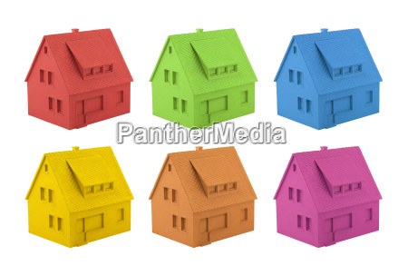 colorful house miniatures isolated on white