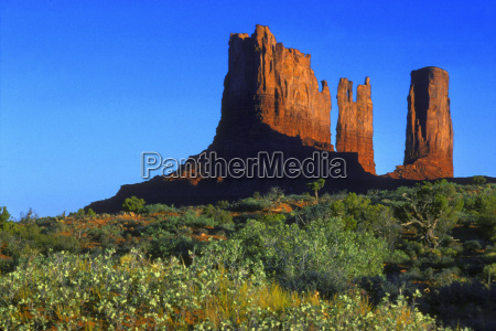 red rock butte in desert monument