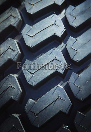 close up of rubber tire tread