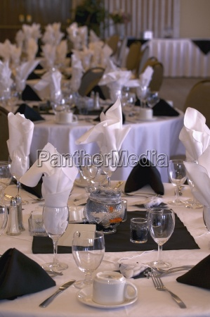 formal place settings at wedding banquet