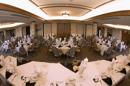 banquet hall set up for wedding