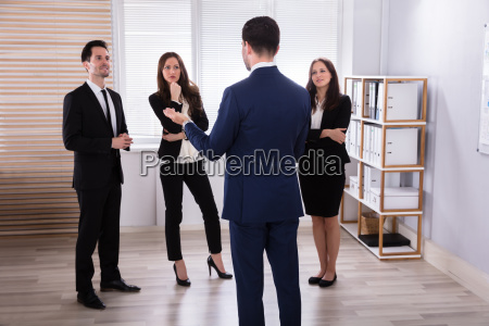 manager with his colleague having discussion