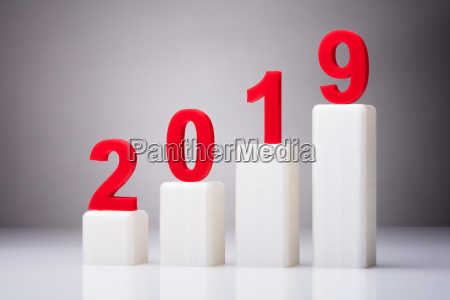 year 2019 with increasing arrow