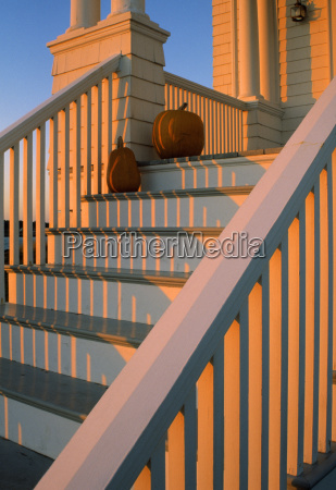 front step detail with pumpkins holiday