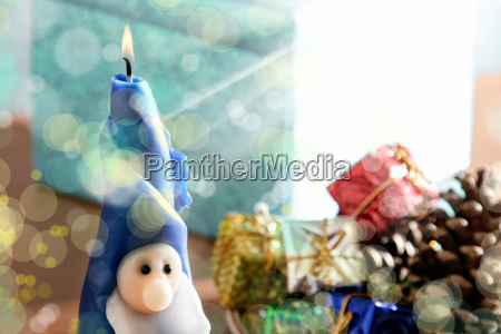 santa clause candle and gift boxes