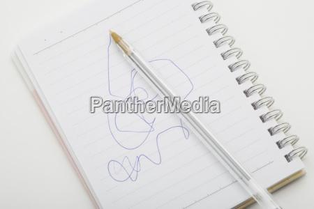 scribbles in notebook