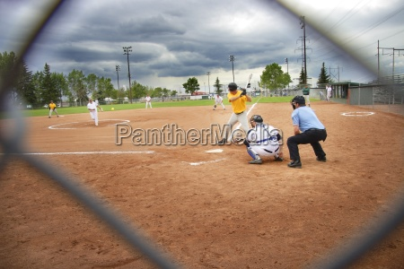 watching a baseball game through a