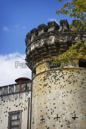 bullet holes in castle turret san
