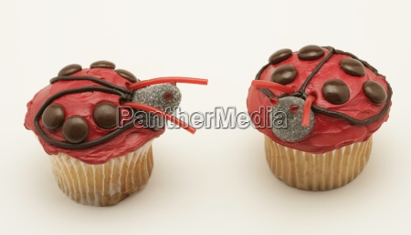 two ladybug cupcakes