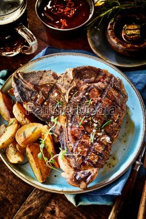 barbecued t bone steak with fresh