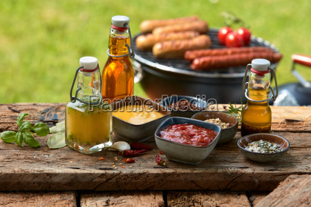 assorted condiments and spices on a