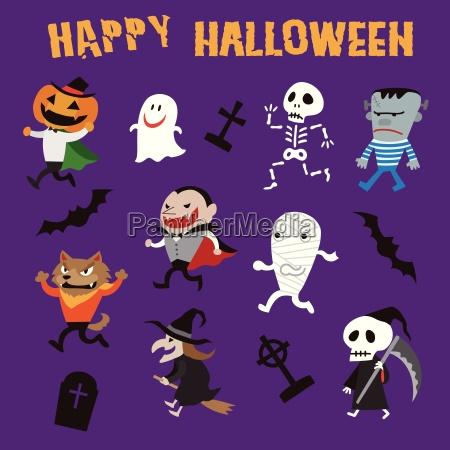 halloween monsters illustration