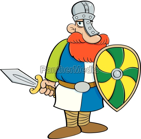 cartoon, illustration, of, a, medieval, knight - 25693429
