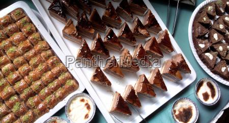 turkish dessert at the buffet