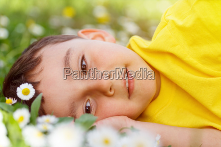 child spring flowers flower meadow little