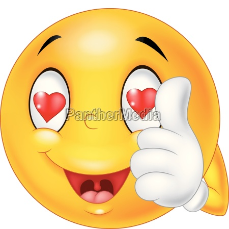 cartoon smiley love face and giving