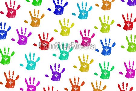 handprints on white