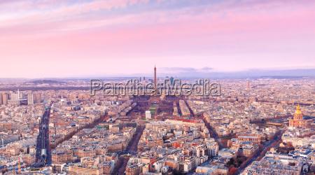 aerial view of paris at sundown