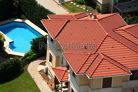 houses and swimming pool