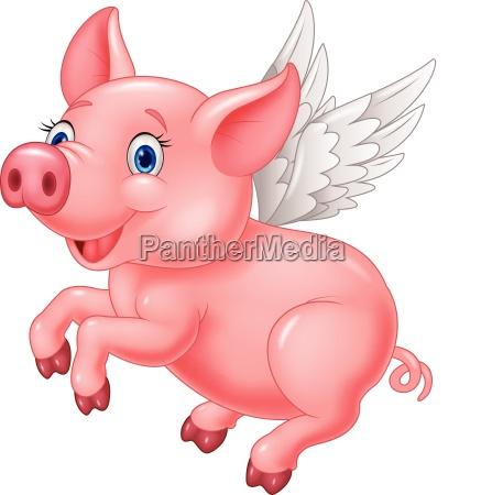 cute pig cartoon flying on white