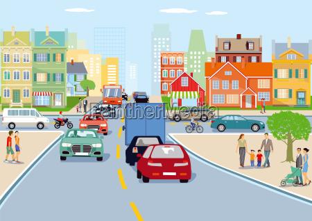 city with road traffic illustration