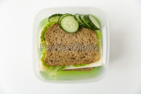 healthy lunch box with cheese and