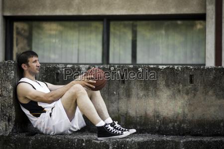 resting basketball player