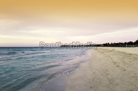 sunset over atlantic ocean in varadero