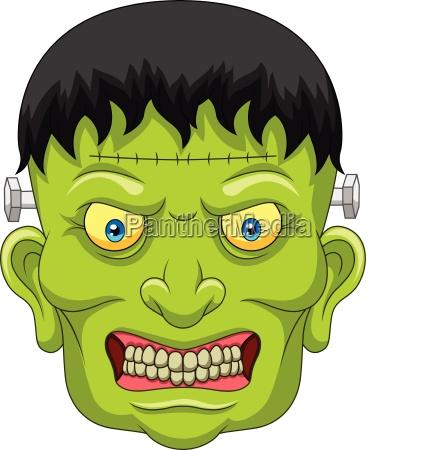 cartoon zombie head isolated on white