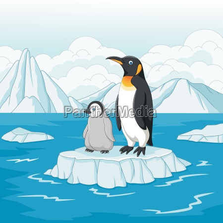 cartoon mother and baby penguin on