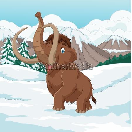 cartoon woolly mammoth walking through a