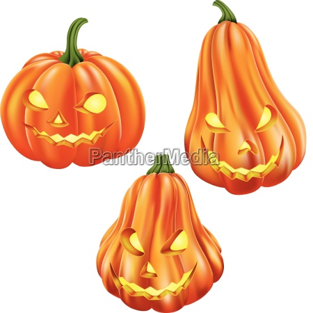 cartoon carved pumpkin isolated on white