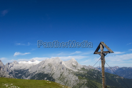 cross and zugspitze in the bavarian