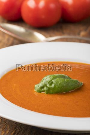 fresh tomato soup in a soup