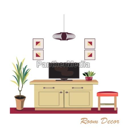 interior design illustration modern red living