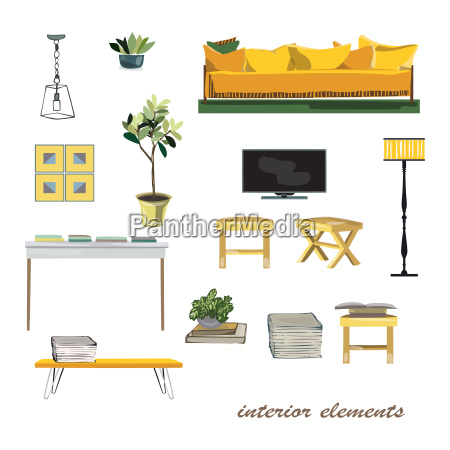 interior design elements illustration furniture collection