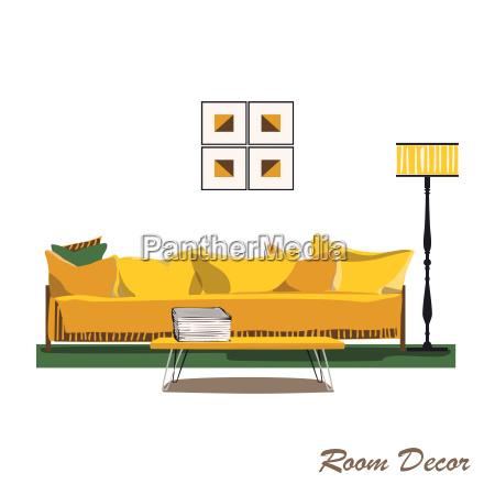 interior design illustration modern yellow living