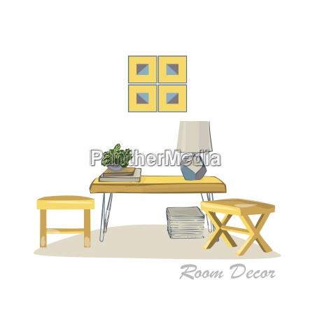 interior design illustration modern elements living