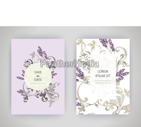 set of card with flower lavender