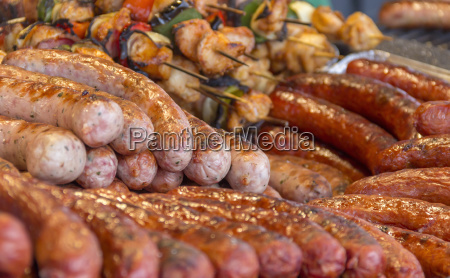 various barbecued sausages