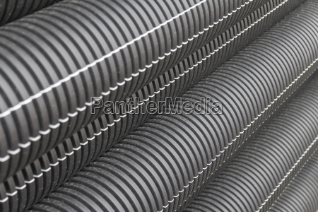 black corrugated pipes detail